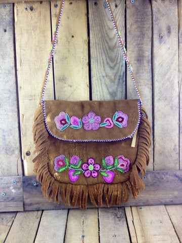 Pink Flower Beadwork on Hand Tanned Moose Hide Purse