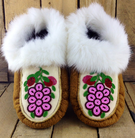 Pink Flowers Beaded on Moose Hide Slippers with White Rabbit Fur