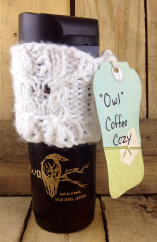 White Hand-Knitted White Owl Coffee Cozy (mug not included)