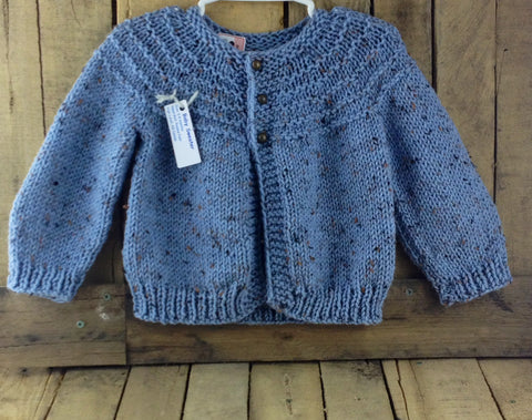 Blue Hand-Knitted Baby Sweater