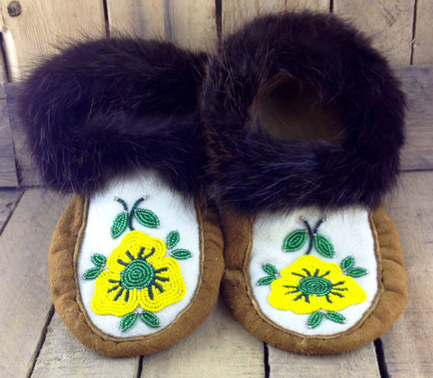 Yellow Beaded Moose Hide Slippers with Beaver Fur