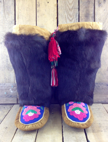 Pink Embroidered Flowers on Hand Tanned Moose Hide Mukluks with Rabbit Fur
