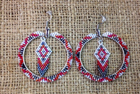 White/Red/Black Beaded Hoops with Feather Design in Centre