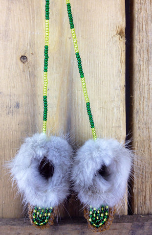 Mini Moose Hide Slippers with Mink Fur and Green and Yellow Beadwork