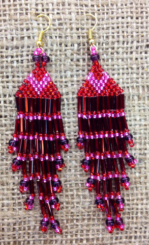 Pink and Red Beaded Tassel Earrings