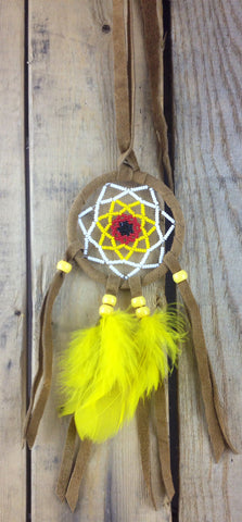 White/Yellow/Red/Black Beaded Moose-Hide Dreamcatcher