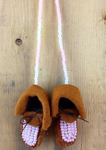 Mini Moose Hide Slippers with Pink and White Beadwork Ornament