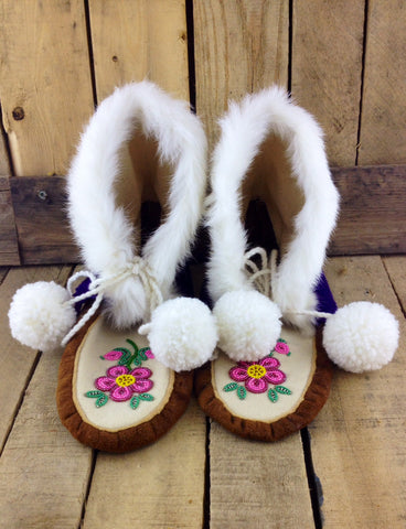 Pink Flowers Beaded on Moose Hide Crow Boots with Rabbit Fur