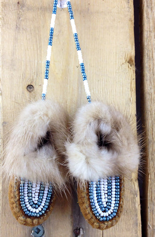 Mini Moose Hide Slippers Ornament with Lynx Fur