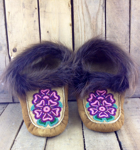 Purple and Pink Beaded Flowers on Hand Tanned Moose Hide Slippers with Beaver Fur