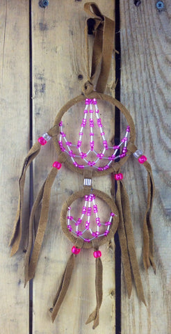 2-Tiered Pink and White Beaded Moose Hide Dreamcatcher