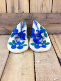Blue Flowers Embroidered on White Stroud Slippers