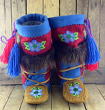 Blue Beaded Flowers on Hand Tanned Moose Hide Mukluks with Beaver Fur
