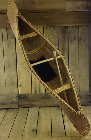 Decorative Birch Bark Canoe with One Paddle