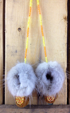 Mini Moose Hide Slippers with Mink Fur and Yellow and Orange Beadwork