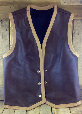 Dark Brown Leather Vest with Tan Trim and Gold Snap Buttons