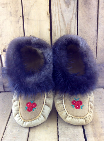 Red Flowers Beaded on Factory Tanned Moose Hide Slippers with Beaver Fur