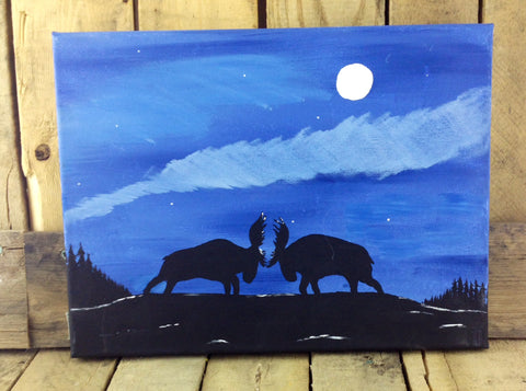 Two Moose Fighting in Moonlight by Roger Martel