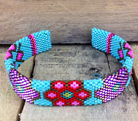 Blue/Multi-Coloured Beaded Bangle