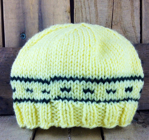 Yellow Hand-Knit Infant Toque with Black Design