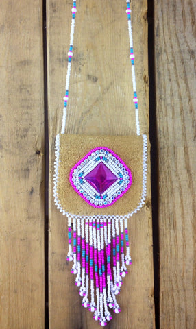 Pink and White Diamond  Beaded Design on Moose Hide Medicine Pouch
