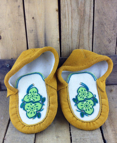 Green Flowers Beaded Design on Factory Tanned Moose Hide Slippers