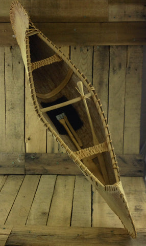 Decorative Birch Bark Canoe with Two Paddles and Axe