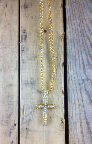 Yellow Beaded Cross Necklace