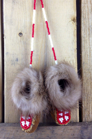 Mini Moose Hide Slippers with Mink Fur and Red and White Beadwork