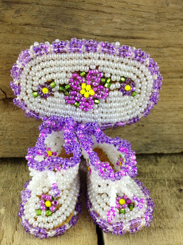 Purple/White/Yellow Beaded Brooch with Baby Booties and Flower