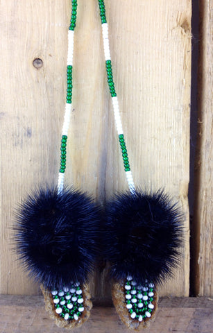 Mini Moose Hide Slippers with Seal Fur and Green and White Beadwork