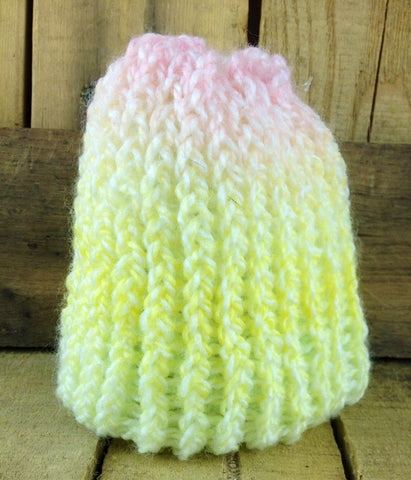 Hand-Knitted Rainbow Coloured Infant Toque