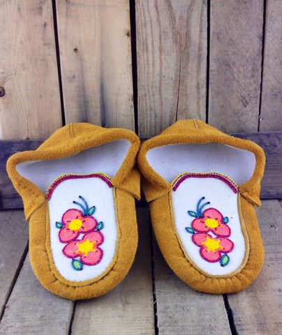 Orange and Pink Beaded Flowers on Factory Tanned Moose Hide Slippers