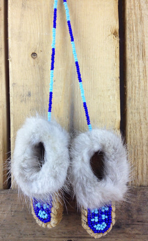 Mini Moose Hide Slippers with Mink Fur and Blue Beadwork
