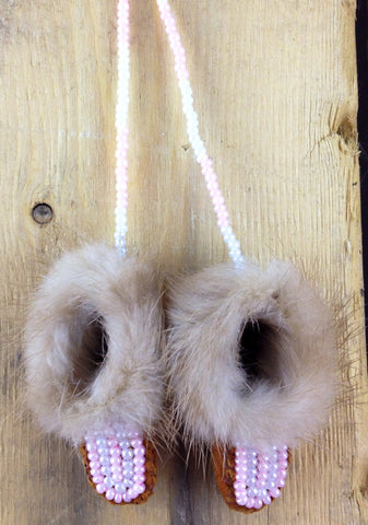 Mini Moose Hide Slippers Decoration with Mink Fur and Pink and White Beadwork