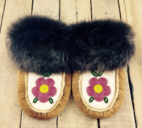 Pink Flower Beadwork on Hand Tanned Moose Hide Slippers with Beaver Fur