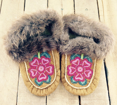 Red Flowers Beaded on Hand Tanned Moose Hide Slippers with Beaver Fur