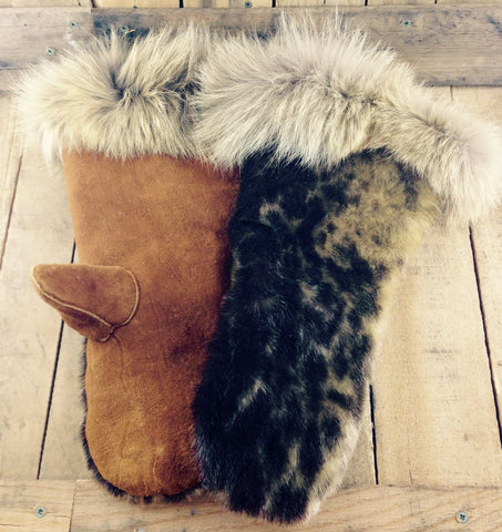 Seal and Coyote Fur on Hand Tanned Moose Hide Mitts