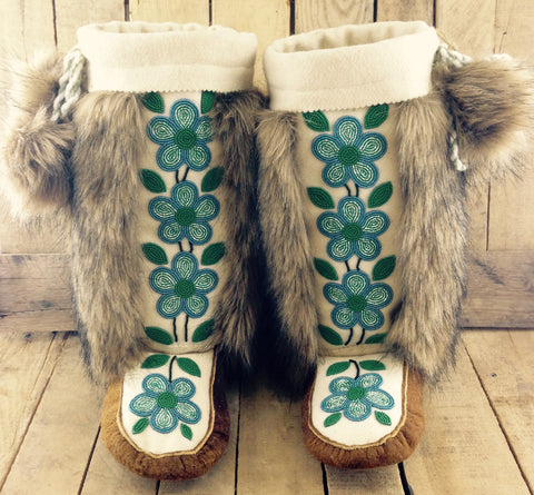 Turquoise Flowers on White Stroud on Hand Tanned Moose Hide Mukluks with Coyote Faux Fur