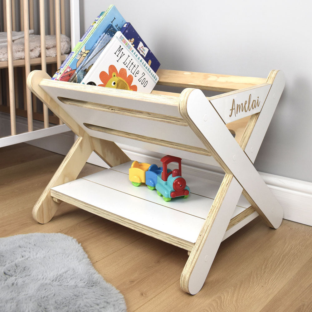 Nursery room scene with free standing personalised book caddy rack.