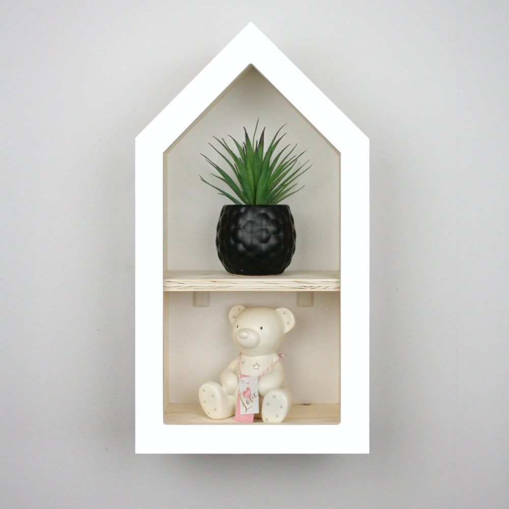 Nursery themed house shaped wall mounted shelf.