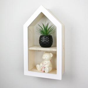 Nursery themed house shaped wall mounted shelf side detail