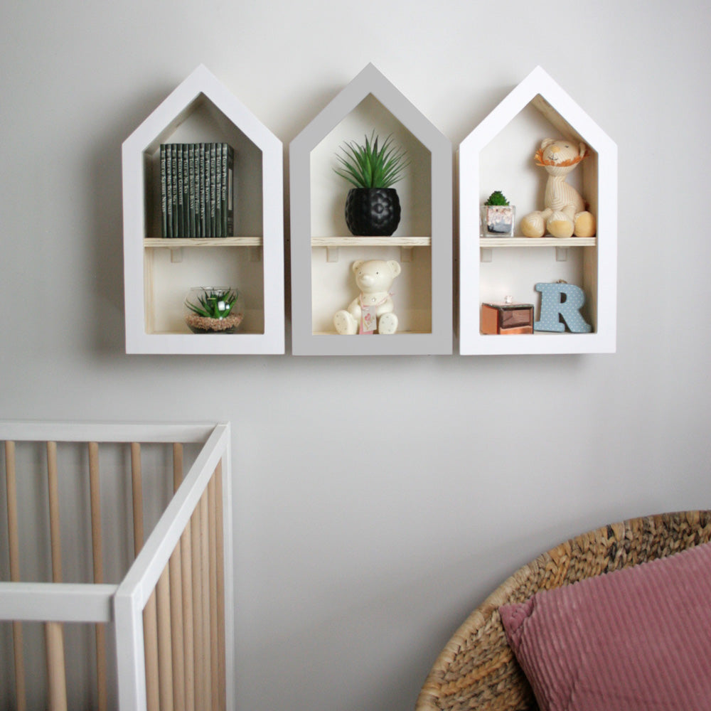 Nursery themed house shaped wall mounted shelf set of three