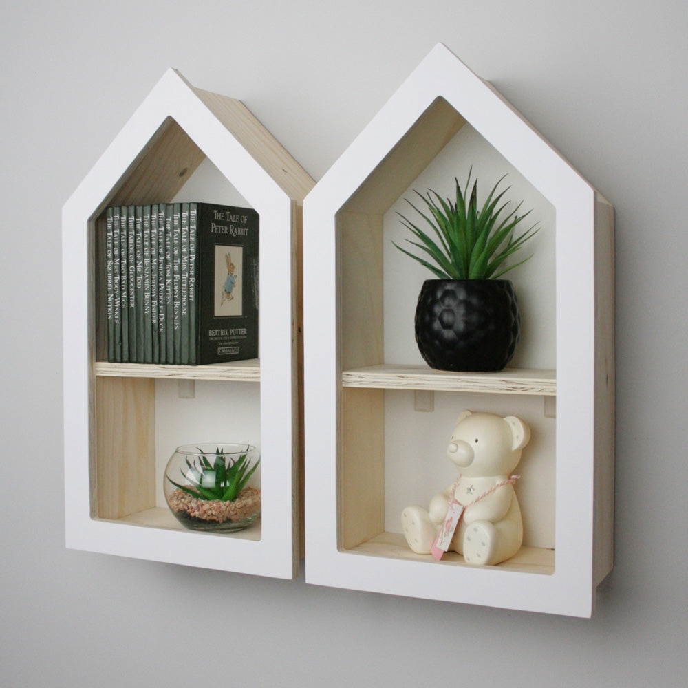 Nursery themed house shaped wall mounted shelf set of two.