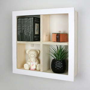 Nursery window box shaped wall mounted shelf side view.