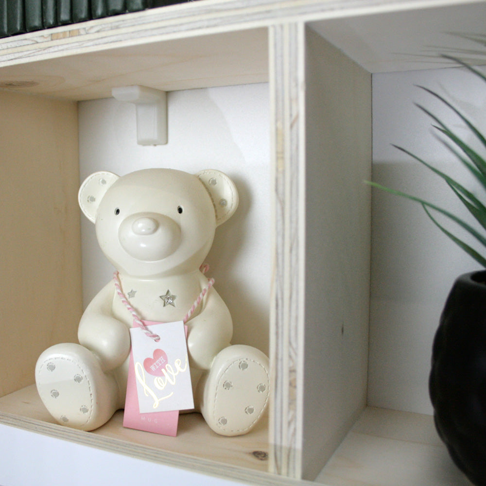 Nursery window box shaped wall mounted shelf inner shelf detail