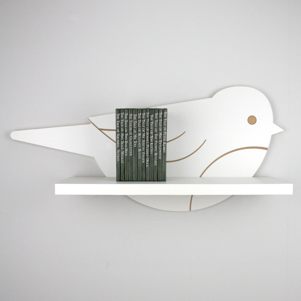 Nursery themed bird shaped wall mounted shelf.