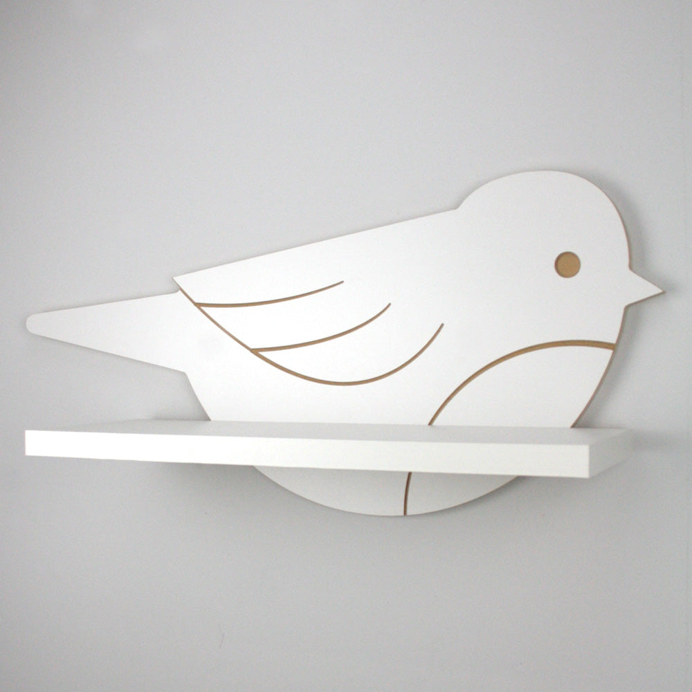 Nursery themed bird shaped wall mounted shelf with no display books.