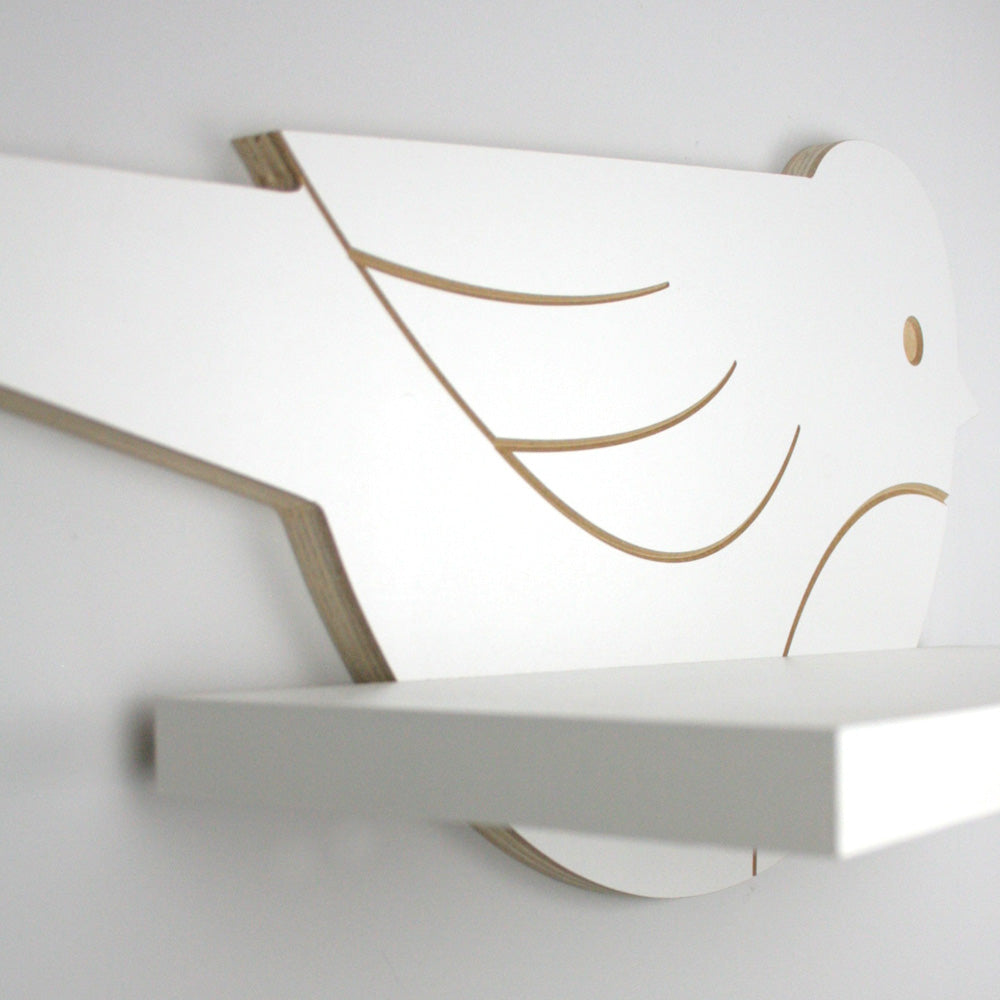 Nursery themed bird shaped wall mounted shelf with rear engraved detail.