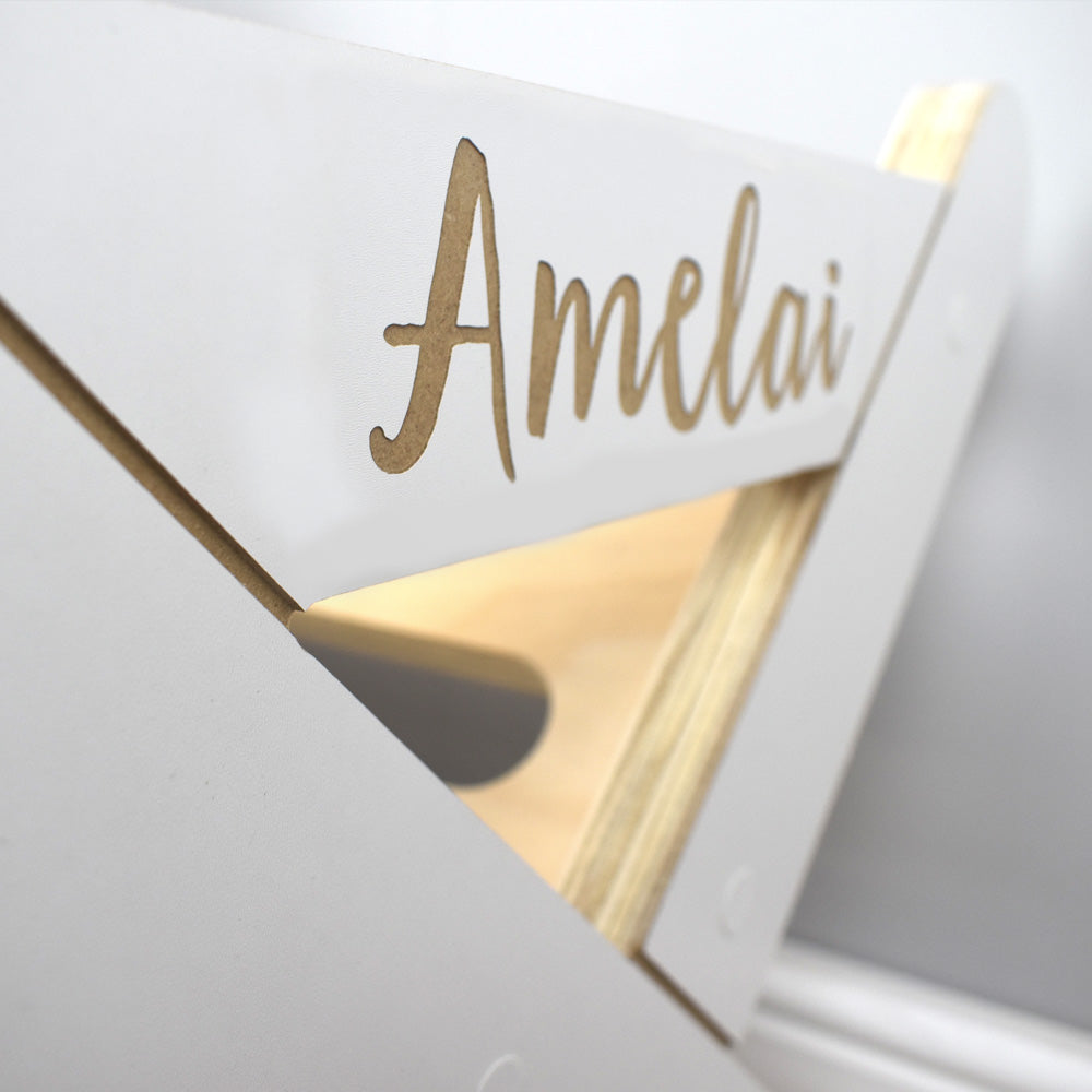 Personalised on standing book rack caddy.